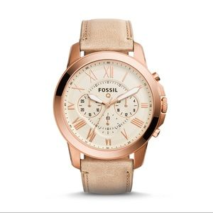 Fossil Rose Gold & Leather Q Grant Smartwatch